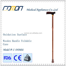 High Quality Wooden Handle Folding Cane Bronze Color, 4 Parts Foldable Walking Stick BSCI Factory Direct Oxidation Tube