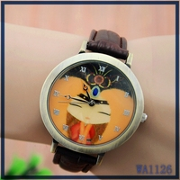 Wholesale leather straps round quartz dial beauty pattern 2016 American hot sale brand lady watch