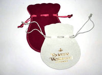 White button custom drawstring jewelry suede pouch