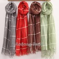 Hot sell women stole plaid ladies scarf shawl