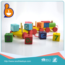 wholesale preschool educational pull toys wooden train set with high quality