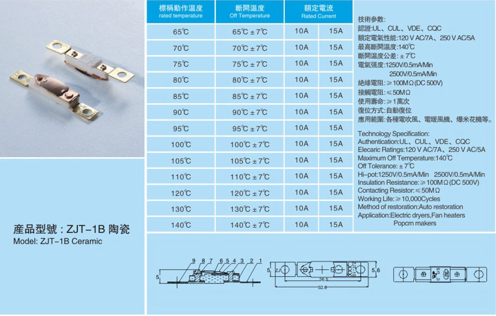 Electric temperature control switch