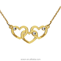 Yiwu Aceon Stainless Steel Triple Hearts Necklace with Engraving and Crystals