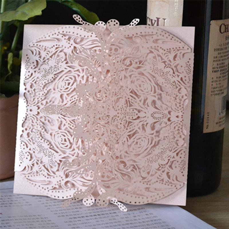 MR017 New design Laser cut ivory invitation card for wedding