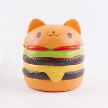2018new amazon custom toys Cute Jumbo Soft Stress Relief Cat Head Burger Scented Squishy Toys For Kids And Adults birthday gifts