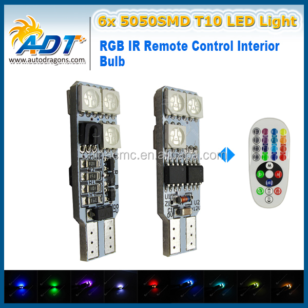 2016 New Arrival RGB DC 12V 24V Interior Light LED Dome Light T10 5050SMD Reading Bulb