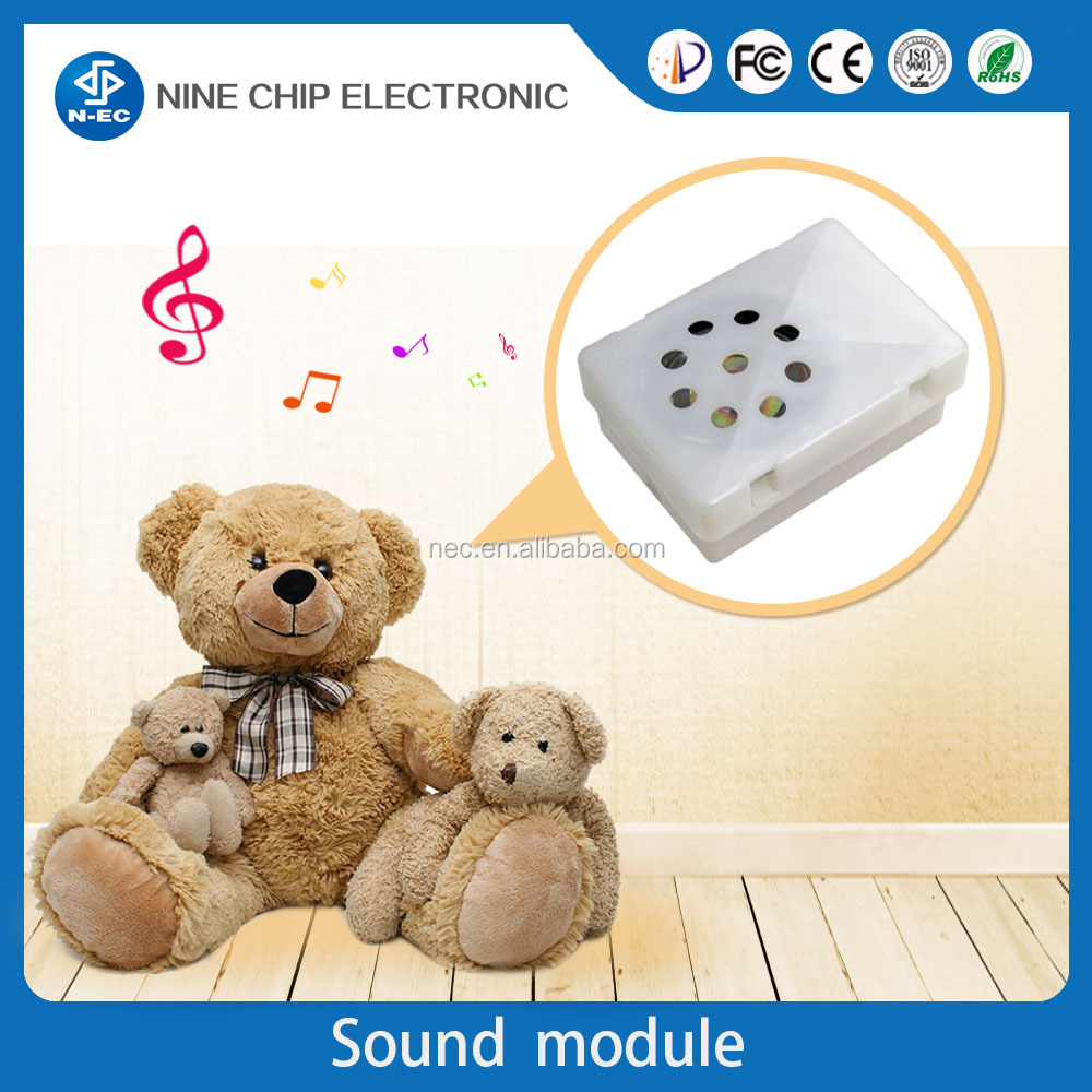 Mini square-shaped chip phrase recordable sound module for plush toys