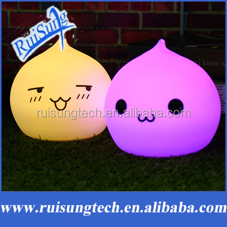 Battery Models Rechargeable Waterdrop Silicone Night Light Touch Sensor 7 Colorful Children Kids Cute Night Lamp Bedroom Light