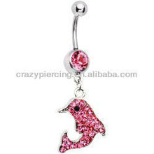 red dolphin CZ gem 316L steel body navel belly button ring piercing jewelry