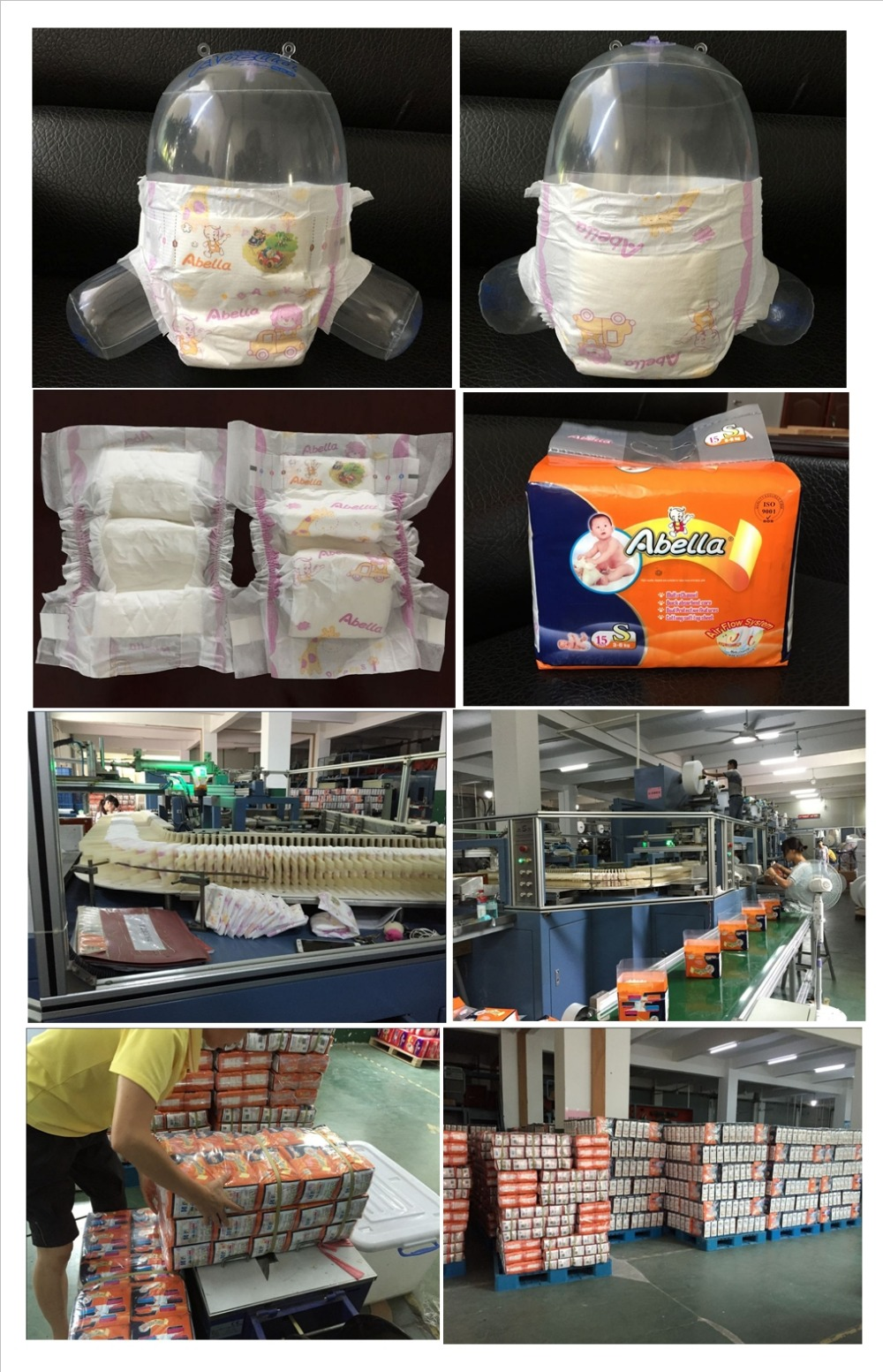 High quality Abella brand breathable cloth-like backsheet Magic tape disposable baby diaper