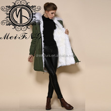 2017 Manufacturer sheep fur coat white faux fur trim winter warm women fur parka shell material down coat