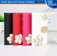 Luxury PU Leather Case For iPhone 5G with diamond , Leather Wallet case For iPhone 5G with 3D diamond flower