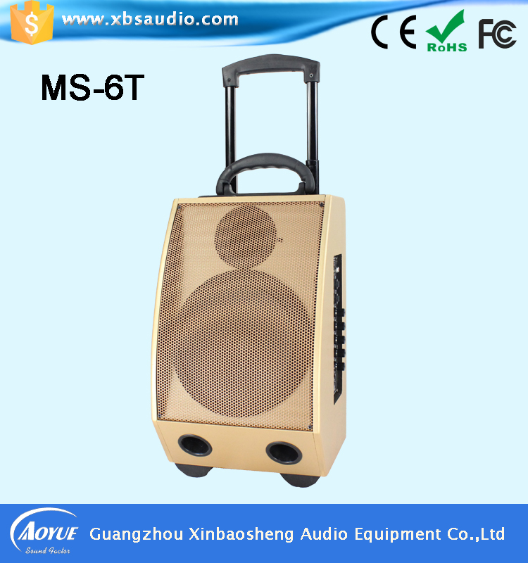 "60 Watts Professional Portable Dual Mic Wireless Rechargeable 8"" Speaker PA System with USB/SD Card"