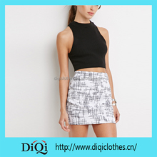 Chic Wholesale Price Export Summer Cool Graphic Abstract Crosshatch Mini Skirt