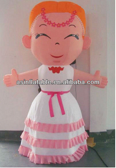 Beautiful&high quality oxford cloth inflatable cartoon girl for advertising