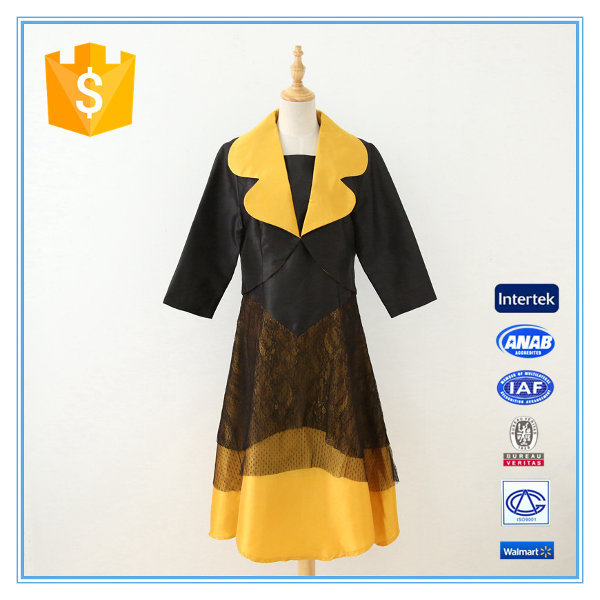 High Quality Lace Stitching Contrast Color Neck Collar Design Of Ladies Suits