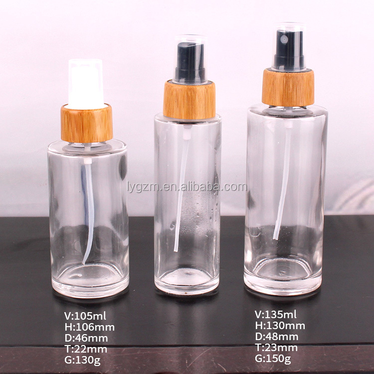 Clear Glass Lotion Bottle with Bamboo Cover spray pump for cosmetic glass jar