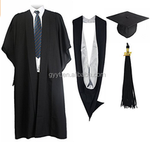 Full set dark crinkles academic gown adult graduation caps and gowns
