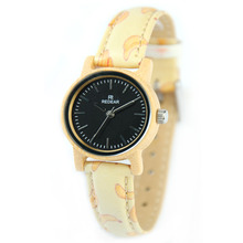 Real Pictures of Fashion Girls Ethnic Leather Strap Bamboo Wooden Watches