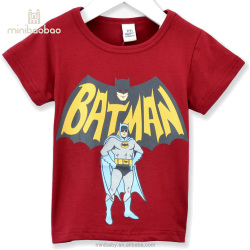 2017 kids boys 100% organic rock t shirt cartoon printed bat man baby boys t shirt