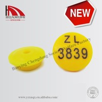 animal ear tag for rabbit/mouse/ hamsster in yellow17*17 mm