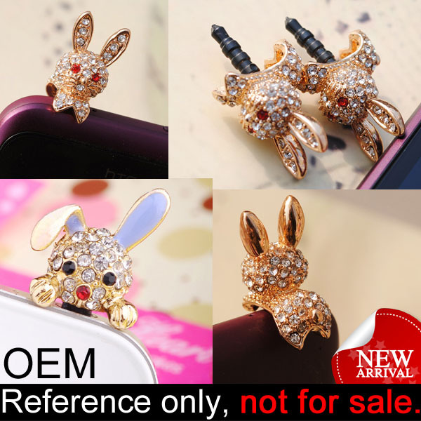 Customized cute animal rabbit decorative metal anti mobile dust cap