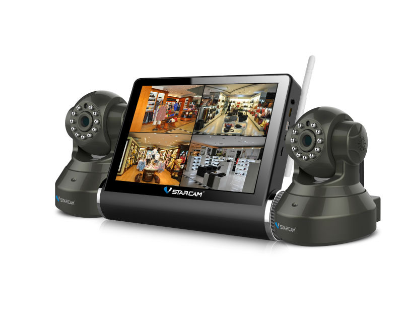 "VStarcam IP Network Video Server NVS-K200 7"" Capacitive Touch Screen LCD DVR Combo H.264 4CH CCTV DVR Kits"