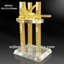 crystal oil rig model in gold color