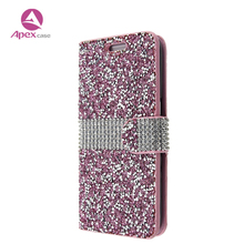 Glitter Diamond Mobile Phone Case For iphone x Case Luxury Leather Stand Phone Cover