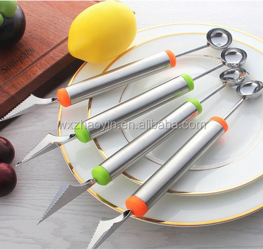 Factory cheap price fruit and vegetable carving tools Ice Cream Spoon Melon Baller Carving knife & Melon baller