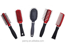 fashion mini plastic rubber coating detangling hair brush set