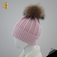 Child Kids Beanie Hats with Real Raccoon Fur Balls Wool Wholesale Winter Kids Beanie Hats