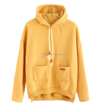 Design Your Own Hoodie Yellow Slit Side High Low Hooded Sweatshirt Custom Made Sublimation Print Hoodie Women