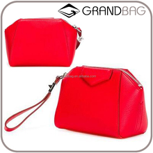 Hot Selling Pebbled Leather Clutch Pouch with Wristlet Women Make up Bags Fashion Cosmetic Bag