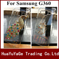Free shipping phone cases 3D DIY cover Luxury Crystal Clear Diamond Bling Case for Samsung Galaxy Core Prime G360 G3608