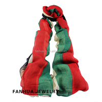 New 2016 Autumn Apparel Accessories Green Red Striped Scarf Shawl For Women