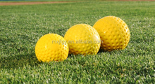 "9"" White Yellow Dimple Pitching Machine Baseball Ball"