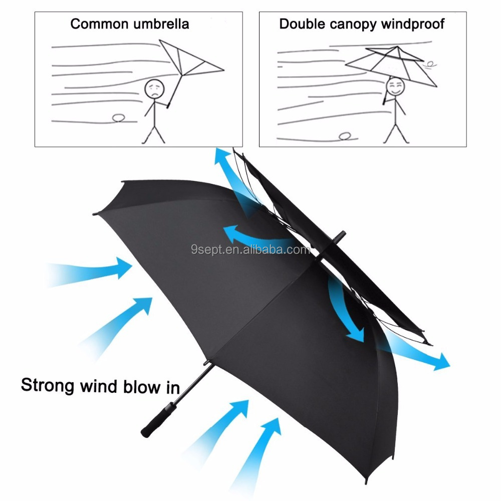 62 / 68 Inch Automatic Open Golf Umbrella Extra Large Oversize Double Canopy Vented Windproof Waterproof Umbrellas