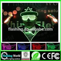 2016 Hot selling LED Shutter party glasses flashing el wire sunglasses