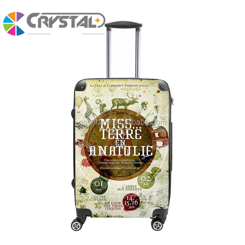 Hot selling abs/pc travel luggage bag luggage cabin size printed hard shell luggage factory price in stock