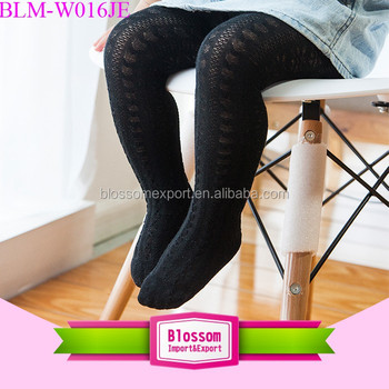 Lovely Knitted Cotton Black Seamless Children Kids Tights Pantyhose Baby Girls Tights And Leggings