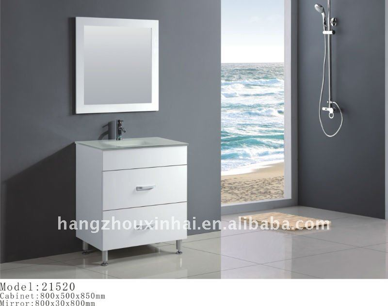 High Gloss White Color ,Floor Mounted free stand Solid Wood Bathroom Vanity Cabinet with strong tempered glass basin