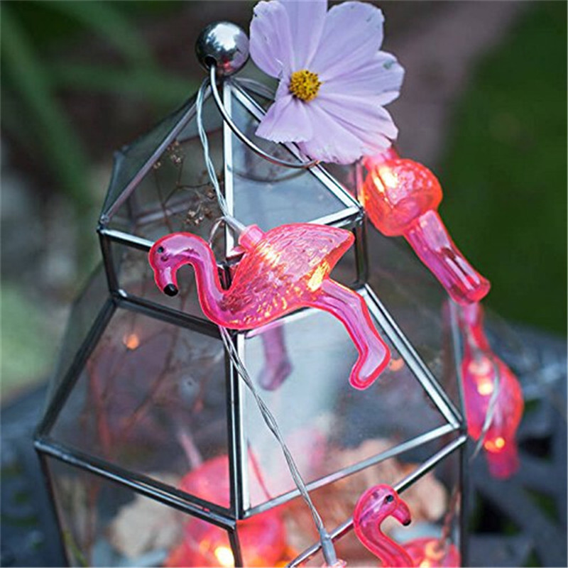 Bird Garland Wedding Night Decoration Living Room Decor Christmas Tree ornament Wreath Plastic Pink Flamingo Led String Light