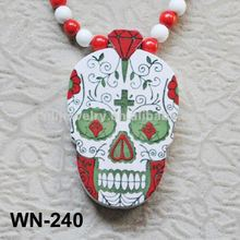 Hand Painted Wood Skull Necklace Hip Hop Wood Charm Necklace