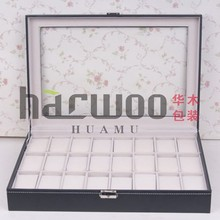 Big capacity 24 slots PU leather watch box in stock