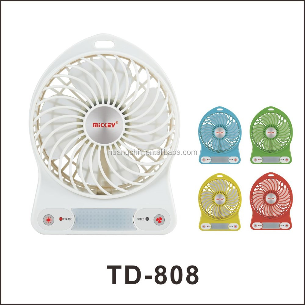 Colorful High Quality Plastic 4 inch Mini USB Rechargeable Fan with 6 LED Lights for Reading Use