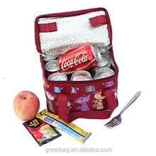 Insulated Lunch Box Wine Red Lovely Cat Soft Thermal Lunch Cooler Bag