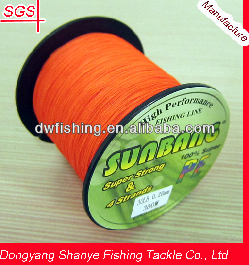 Japan Braided Fishing Line PE Braid Steel Fishing Line 4 Strands Fluorescent ORANGE-- SUNBANG