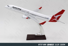 Diecast handmade resin 32CM-Boeing B737 Qantas Plane 1/130 flying model aircraft for office decerated
