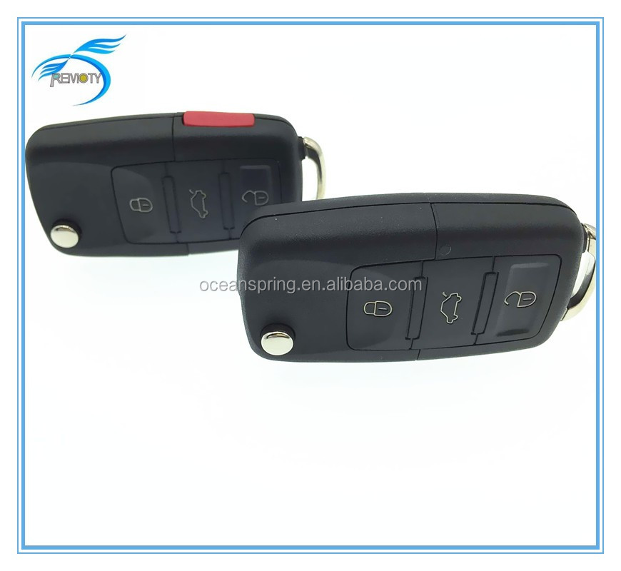 VW Polo Passat B5 B6 golf 4 5 6 Touran Bora Jetta 3+1 Button Replacement Car Key Shell with Red Panic Button